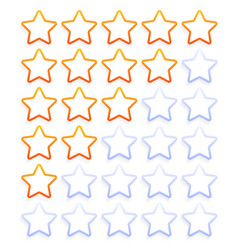 five outline stars rating icon set stock simple vector image