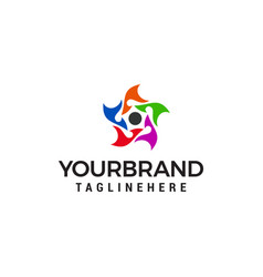 Five people star business logo design concept vector