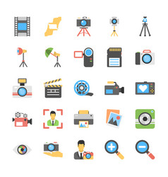 Flat icons of photography vector