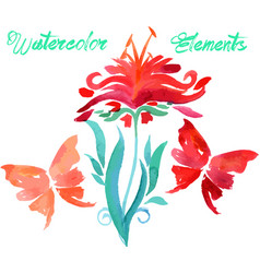 Floral watercolored graphic elements vector
