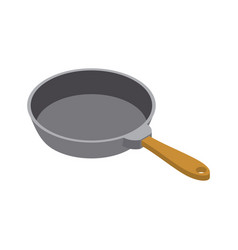 frying pan isolated isometry fry dishes on white vector image