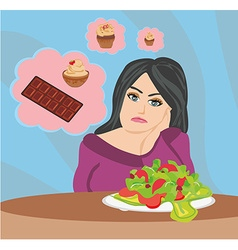 girl on a diet vector image