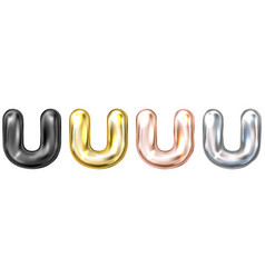 Golden foil balloon inflated alphabet symbol u vector