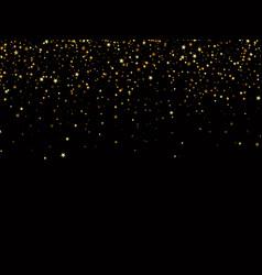 golden glitter confetti falling on black vector image