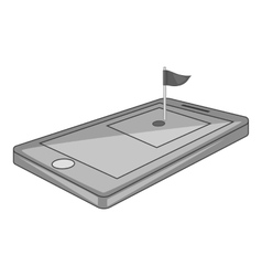 Golf course on phone icon gray monochrome style vector