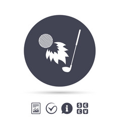golf fireball with club sign icon sport symbol vector image