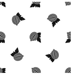 gooseberry with leaves pattern seamless black vector image