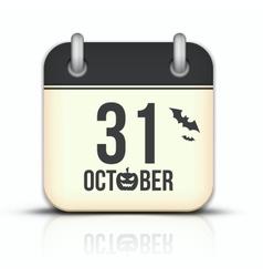 Halloween calendar icon with reflection 31 october vector