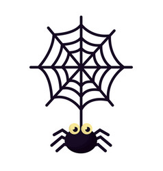 Halloween spider with spiderweb isolated icon vector