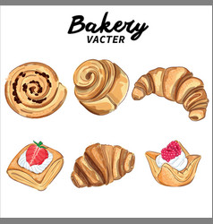 hand drawn bakery puff pastry collection vector image