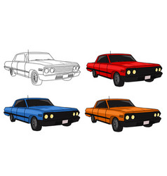 Hand drawn classic car collection vector