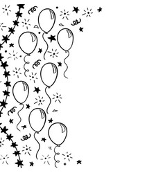 Hand drawn doodle black and white balloon design vector