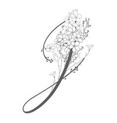 Hand drawn floral j monogram and logo vector
