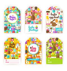 Happy easter gift tag labels vector