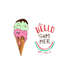 Hello summer funny cute ice cream slogan print vector