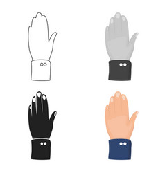 high five icon in cartoon style isolated on white vector image
