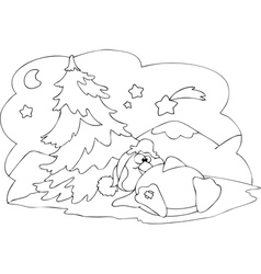 Humorous scene of penguin at Christmas vector image