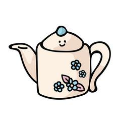 Kawaii country teapot cartoon vector