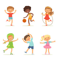 Kids playing in active games vector