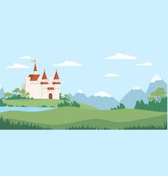 Landscape with medieval castle flat vector