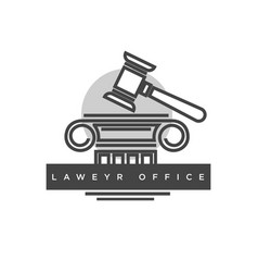 lawyer office logotype with judges wooden hammer vector image