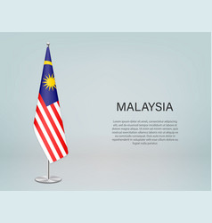 Malaysia hanging flag on stand template vector