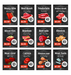 Meat tags beef pork chicken ham and bacon vector