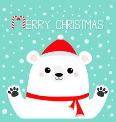 merry christmas white polar bear holding hands vector image