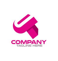 modern letters ut or tu logo vector image