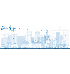 Outline san jose california skyline with blue vector
