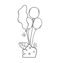 party balloons helium with bush garden vector image