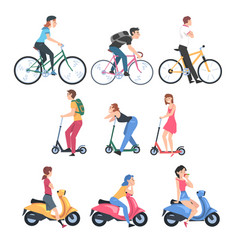 people riding bicycles kick scooters and scooters vector image