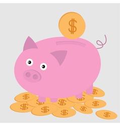 Piggy bank on the dollar coins Card vector