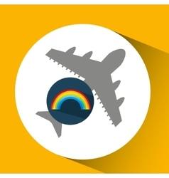 Plane travel weather forecast rainbow icon vector