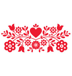 Polish retro folk art design with flowers vector