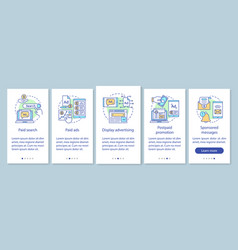Ppc channels onboarding mobile app page screen vector