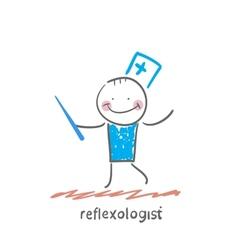 Reflexologist with needle vector