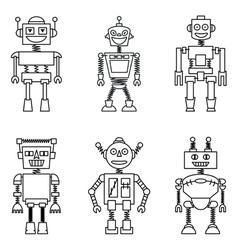 Retro smart robots set vector