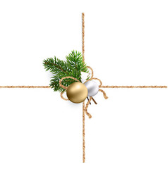 Ribbons burlap rope for christmas decorations vector