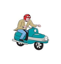 Rider Riding Scooter Isolated Cartoon vector