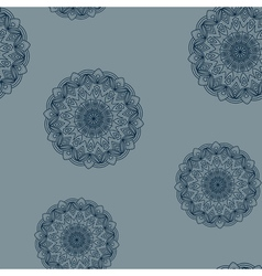 Seamless grey-blue floral pattern vector