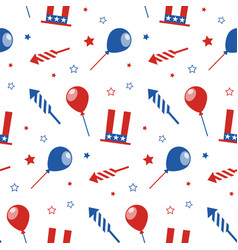 Seamless pattern with festive attributes usa vector