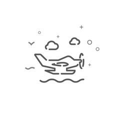Seaplane simple line icon symbol pictogram sign vector