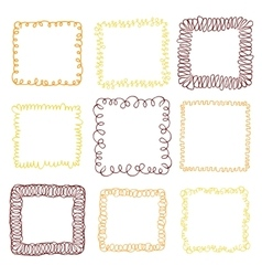 Set of 9 decorative square frames vector image