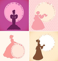 Set of banners with old fashioned woman vector