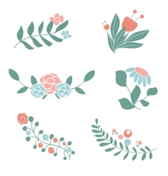Set of cute floral bouquets and wreaths vector