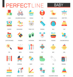 Set of flat baby care toy clothes vector