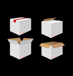 Set of four cardboard boxes open and closed white vector