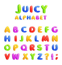 set of multicolored bright kids letters vector image