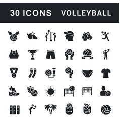 Set simple icons volleyball vector